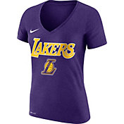 Nike Women's Los Angeles Lakers Dri-FIT Purple Wordmark V-Neck T-Shirt