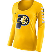 Nike Women's Indiana Pacers Dri-FIT Gold Logo Long Sleeve Shirt