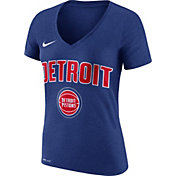 Nike Women's Detroit Pistons Dri-FIT Royal Wordmark V-Neck T-Shirt