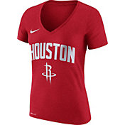 Nike Women's Houston Rockets Dri-FIT Red Wordmark V-Neck T-Shirt