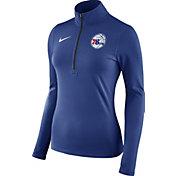 Nike Women's Philadelphia 76ers Dri-FIT Royal Element Half-Zip Pullover