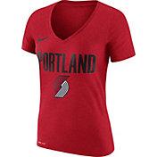 Nike Women's Portland Trail Blazers Dri-FIT Red Wordmark V-Neck T-Shirt