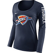 Nike Women's Oklahoma City Thunder Dri-FIT Navy Logo Long Sleeve Shirt