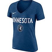 Nike Women's Minnesota Timberwolves Dri-FIT Blue Wordmark V-Neck T-Shirt