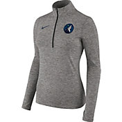Nike Women's Minnesota Timberwolves Dri-FIT Grey Element Half-Zip Pullover
