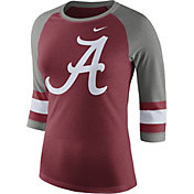Nike Women's Alabama Crimson Tide Crimson/Grey Stripe Sleeve Three-Quarter Raglan Shirt