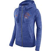 Nike Women's Boise State Broncos Heathered Blue Gym Vintage Full-Zip Hoodie