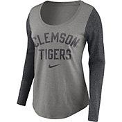 Nike Women's Clemson Tigers Grey Elevated Essentials Tri-Blend Long Sleeve Shirt