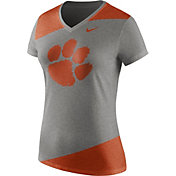 Nike Women's Clemson Tigers Grey/Orange Champ Drive Football Dri-Blend V-Neck T-Shirt