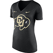 Nike Women's Colorado Buffaloes Black Stripe Bar V-Neck T-Shirt