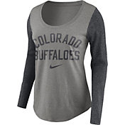 Nike Women's Colorado Buffaloes Grey Elevated Essentials Tri-Blend Long Sleeve Shirt