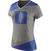 Nike Women's Duke Blue Devils Grey/Duke Blue Champ Drive Football Dri-Blend V-Neck T-Shirt