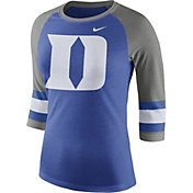 Nike Women's Duke Blue Devils Duke Blue/Grey Stripe Sleeve Three-Quarter Raglan Shirt
