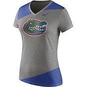 Nike Women's Florida Gators Grey/Blue Champ Drive Football Dri-Blend V-Neck T-Shirt