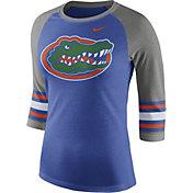 Nike Women's Florida Gators Blue/Grey Stripe Sleeve Three-Quarter Raglan Shirt