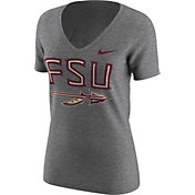 Nike Women's Florida State Seminoles Grey Alt Logo Tri-Blend Football T-Shirt