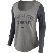 Nike Women's Florida State Seminoles Grey Elevated Essentials Tri-Blend Long Sleeve Shirt