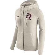 Nike Women's Florida State Seminoles Heathered Oatmeal Gym Vintage Full-Zip Hoodie