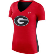 Nike Women's Georgia Bulldogs Heathered Red Dri-FIT Touch V-Neck T-Shirt