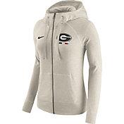 Nike Women's Georgia Bulldogs Heathered Oatmeal Gym Vintage Full-Zip Hoodie