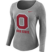 Nike Women's Ohio State Buckeyes Gray Logo Tri-Blend Long Sleeve Shirt
