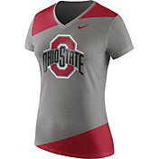 Nike Women's Ohio State Buckeyes Gray/Scarlet Champ Drive Football Dri-Blend V-Neck T-Shirt