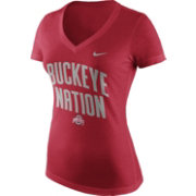 Nike Women's Ohio State Buckeyes Scarlet 'Buckeye Nation' Phrase V-Neck T-Shirt