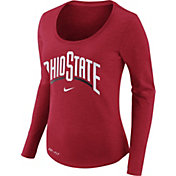 Nike Women's Ohio State Buckeyes Heathered Scarlet Slub Dri-FIT Long Sleeve Shirt