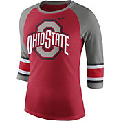 Nike Women's Ohio State Buckeyes Scarlet/Grey Stripe Sleeve Three-Quarter Raglan Shirt