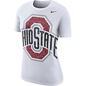 Nike Women's Ohio State Buckeyes Boy Cut White Tri-Blend T-Shirt