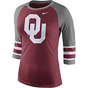 Nike Women's Oklahoma Sooners Crimson/Grey Stripe Sleeve Three-Quarter Raglan Shirt