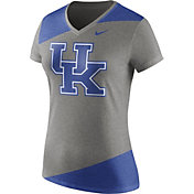 Nike Women's Kentucky Wildcats Grey/Blue Champ Drive Football Dri-Blend V-Neck T-Shirt
