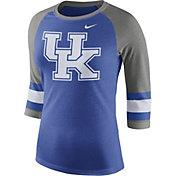 Nike Women's Kentucky Wildcats Blue/Grey Stripe Sleeve Three-Quarter Raglan Shirt