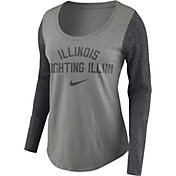 Nike Women's Illinois Fighting Illini Grey Elevated Essentials Tri-Blend Long Sleeve Shirt