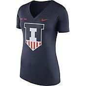 Nike Women's Illinois Fighting Illini Blue Stripe Bar V-Neck T-Shirt