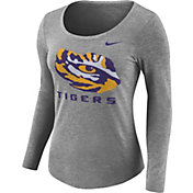 Nike Women's LSU Tigers Grey Logo Tri-Blend Long Sleeve Shirt