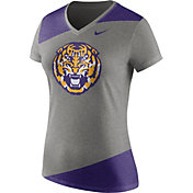 Nike Women's LSU Tigers Grey/Purple Champ Drive Football Dri-Blend V-Neck T-Shirt