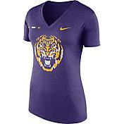 Nike Women's LSU Tigers Purple Stripe Bar V-Neck T-Shirt