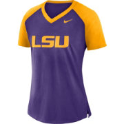 Nike Women's LSU Tigers Purple/Gold Top V-Neck Raglan T-Shirt