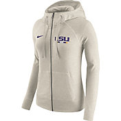 Nike Women's LSU Tigers Heathered Oatmeal Gym Vintage Full-Zip Hoodie