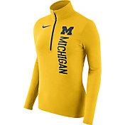 Nike Women's Michigan Wolverines Heathered Maize Element Half-Zip Shirt