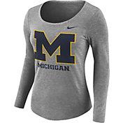 Nike Women's Michigan Wolverines Grey Logo Tri-Blend Long Sleeve Shirt