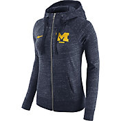Nike Women's Michigan Wolverines Heathered Blue Gym Vintage Full-Zip Hoodie
