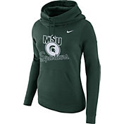 Nike Women's Michigan State Spartans Green Club Funnel Neck Hoodie
