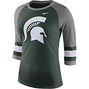 Nike Women's Michigan State Spartans Green/Grey Stripe Sleeve Three-Quarter Raglan Shirt