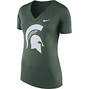 Nike Women's Michigan State Spartans Green Stripe Bar V-Neck T-Shirt