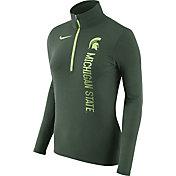 Nike Women's Michigan State Spartans Heathered Green Element Half-Zip Shirt