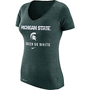 Nike Women's Michigan State Spartans Green Franchise Dri-Blend V-Neck T-Shirt