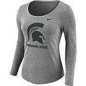 Nike Women's Michigan State Spartans Grey Logo Tri-Blend Long Sleeve Shirt