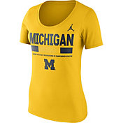 Jordan Women's Michigan Wolverines Maize Football Sideline Scoop T-Shirt